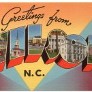 WILSON, North Carolina large letter linen postcard Tichnor