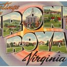FRONT ROYAL, Virginia large letter linen postcard Tichnor