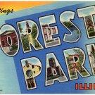 FOREST PARK, Illinois large letter linen postcard Teich