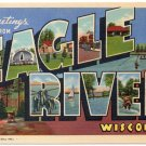 EAGLE RIVER, Wisconsin large letter linen postcard Teich