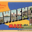 LAWRENCE, Massachusetts large letter linen postcard Teich