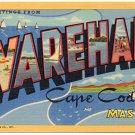 WAREHAM, Massachusetts large letter linen postcard Teich
