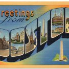 BOSTON, Massachusetts large letter linen postcard Tichnor