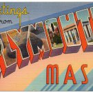 PLYMOUTH, Massachusetts large letter linen postcard Tichnor