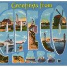 CAPE COD, Massachusetts large letter linen postcard Tichnor