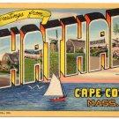 CHATHAM, Cape Cod, Massachusetts large letter linen postcard Teich