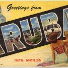 ARUBA large letter linen postcard Teich