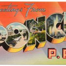 PONCE, Puerto Rico large letter linen postcard Tichnor