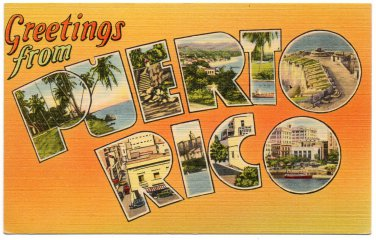PUERTO RICO large letter linen postcard Tichnor