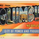 COLUMBUS, Nebraska large letter linen postcard Teich