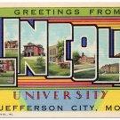 LINCOLN UNIVERSITY, Missouri large letter linen postcard Teich