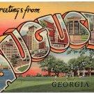 AUGUSTA, Georgia large letter linen postcard Teich