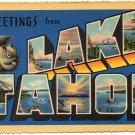 Deckled edges LAKE TAHOE, California large letter linen postcard Teich