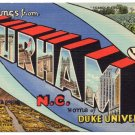 DURHAM, North Carolina large letter linen postcard Teich
