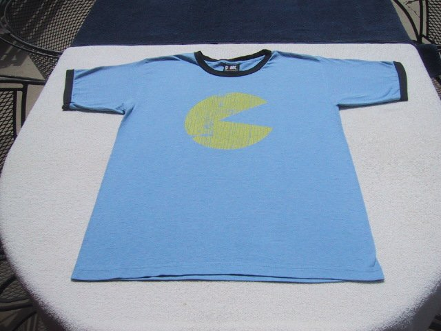retro PAC MAN - Giant brand MEDIUM ringer T-SHIRT