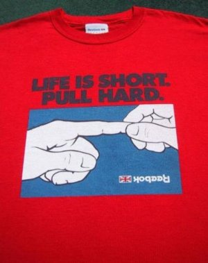 LIFE IS SHORT. PULL HARD (finger) Medium T-SHIRT reebok