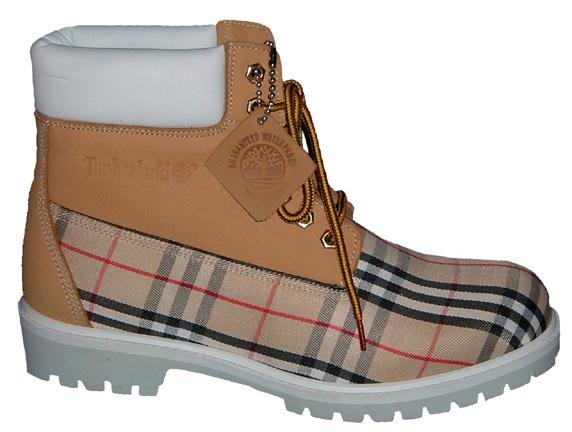 wheat suede timberland boot with burberry print