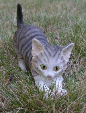 "Silver Tabby Cat Figurine 6 3/4"""