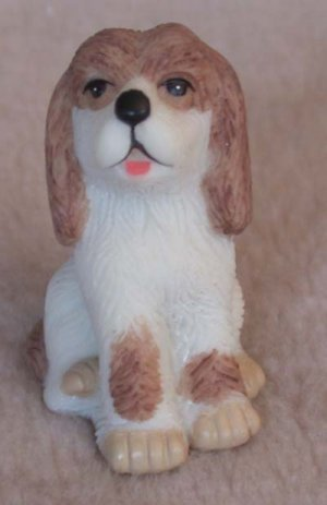 "Dog Mini Brown and White 1 3/4"" Tall"