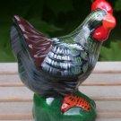 "Chicken Hen Figurine Brightly Colored 4 1/2"" Tall"
