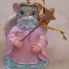 Christmas Ornament Mouse Angel Pink Gown