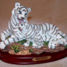 White tiger Mother and Cub on Wooden Base 6 1/4""