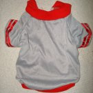 Silver shirt with red stripped sleeve