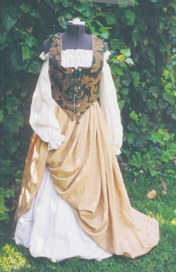 Renaissance Bodice Tapestry Wench Outfit LARP Three Piece