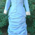 Bustle Dress Victorian Walking Gown Cotton Jacket with Overskirt