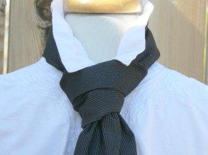 Steampunk Tie Pinstripe Victorian Cravat Front Knot Necktie