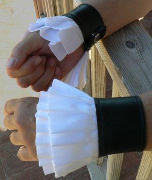 Victorian Steampunk Wrist Cuffs Gauntlet Ruffles with Snaps
