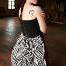 Bustle Skirt Striped Satin Adjustable Drawstring Gothic Overskirt