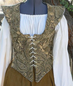 Renaissance Front Lacing Bodice Tapestry with Sleeve Caps Waist Tabs
