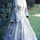 Cotton Day Dress Civil War Design Victorian Walking Gown Pagoda Sleeve