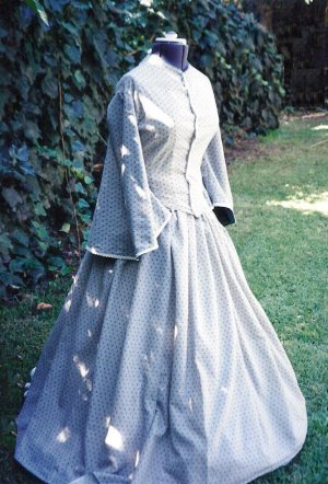 Cotton Day Dress Civil War Design Victorian Walking Gown Pagoda Sleeve