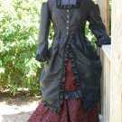 Victorian Bustle Dress Polonaise Steampunk Satin Brocade Vestment Ballgown