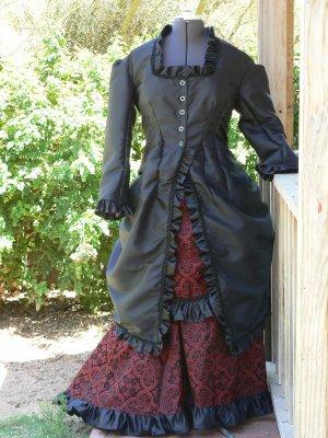 Victorian Bustle Dress Polonaise Steampunk Satin Brocade Vestment Ballgown