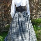 Cotton Plaid Skirt Drawsting Homespun