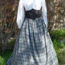Cotton Plaid Skirt Drawsting Homespun