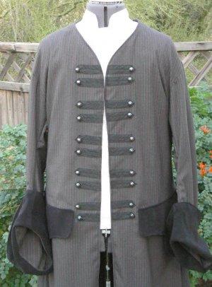 Pirate Coat Tuxedo Renaissance Colonial Jacket Pinstripe Wedding LARP
