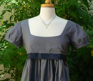 Regency Dress Jane Austen  Mini Cotton Empire Waist