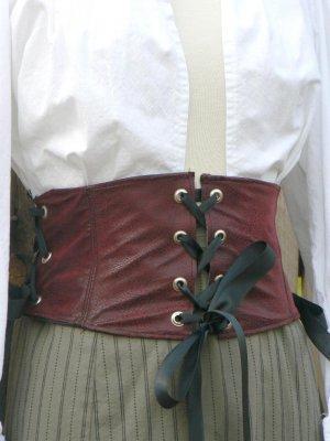 Faux Leather Waist Cincher Corselet Grommets Renaissance Pirate