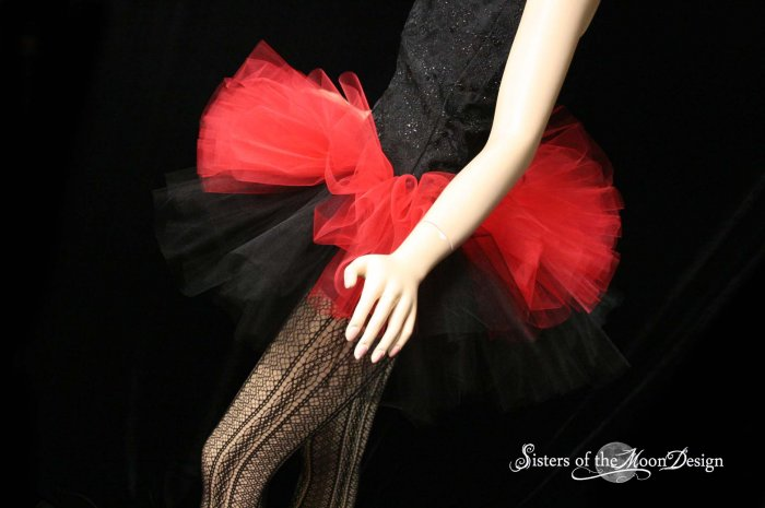 Layered two tone gothic adult dance tutu Black and red Large