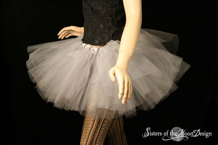 Silver iridescent adult dance tutu Large