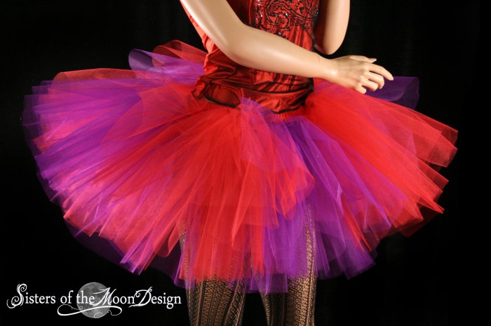 Red and Purple Splash Monster tutu extra puffy adult Large