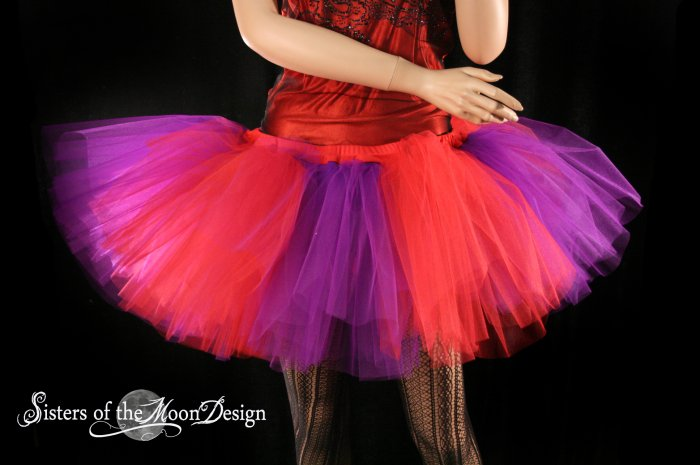 Red and Purple Splash Monster tutu extra puffy adult XLarge Plus
