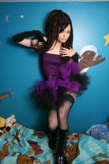 Layered two tone gothic adult dance tutu Black and purple Medium