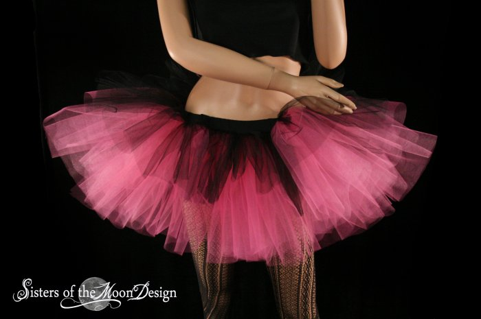 Layered two tone gothic adult dance tutu Black and pink XLarge