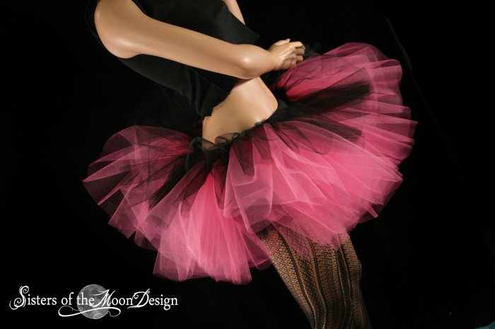 Layered two tone gothic adult dance tutu Black and pink Large