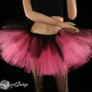 Layered two tone gothic adult dance tutu Black and pink medium